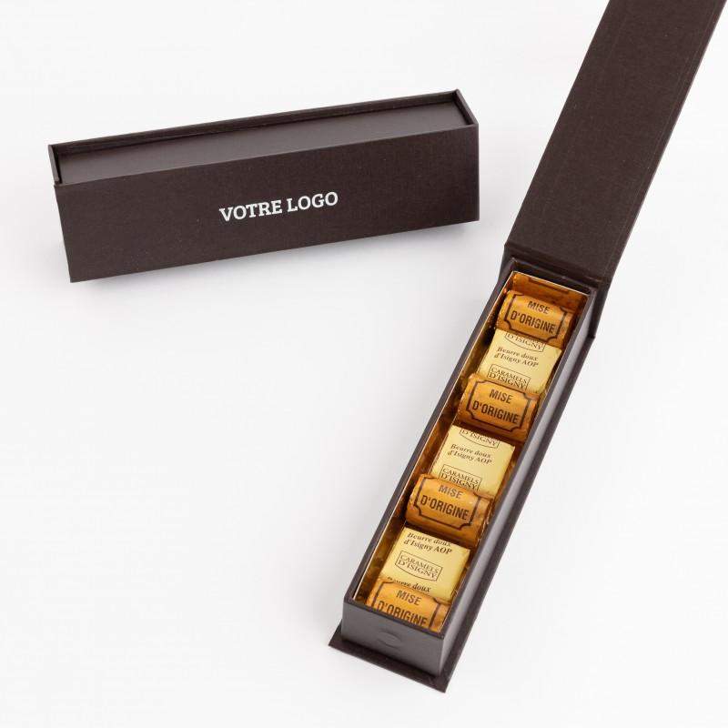 Ecrin Est/Nord Finesse  - 3 caramels d'Isigny, au beurre d'Isigny AOP - 4 bouchons au Calvados enrobés de chocolat noir
