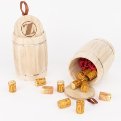 Tonneau Français  - 12 bouchons chocolat - parfum au choix : Calvados, Pommeau de Bretagne, Fine Bordeaux, praliné ou ganache